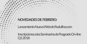 Novedades del mes de Febrero en Rodulfos.com . Nueva Web y nuevos seminarios